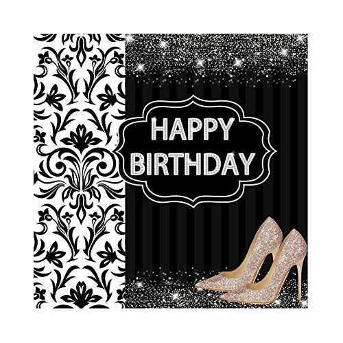 Baocicco 6x6ft Happy Birthday Backdrop High-Heel Shoes Sparkling Dreamily Stripes Floral Texture Sequins Photography Background Girls Birthday Party High Heel Party Baby Girls Photo Booth Prop ()