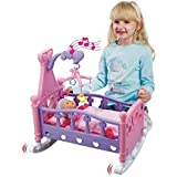 New Childrens Kids Musical Rocking Cot Bed Crib With Baby Doll Pretend Play Set Toy Cradle Girls Xmas Gift