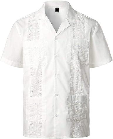 U/A - Camisa de manga corta con cuello de Revere: Amazon.es ...