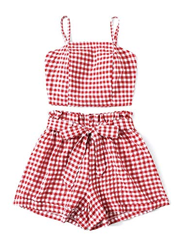 DREAGAL Juniors Gingham Tie Back Shirred Cami Top with Belted Paperbag Shorts 2PC Set Red M