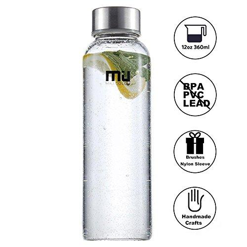MIU COLOR® Stilvolle Tragbare 360ml Glasflasche Trinkflasche mit Nylon Tasche (grau)