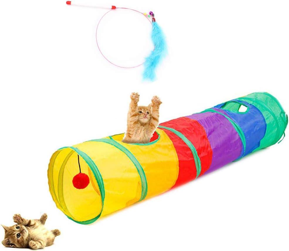 Túnel de Gatos, Juguete del Gato Túnel Extensible Plegable Gato Jugar Túnel Casa del Laberinto del Juguete con Pompón para Gato Gatito Cachorro Conejo + Juguete Palo de Plumas como Regalo(90cm)