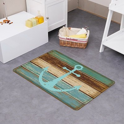 Fashion Dream Extra Long Flannel Bathroom Rug Bath Mats- Non-slip Soft Absorbent Decorative Bath Runner Floor Mat Carpet (Wide 20 Inch x Length 32 Inch, Anchor)