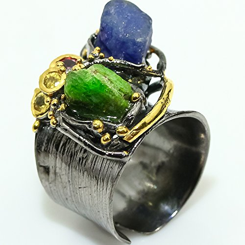 PRETTY!!! NATURAL ROUGH CHROME DIOPSIDE RING SIZE 6.25 US
