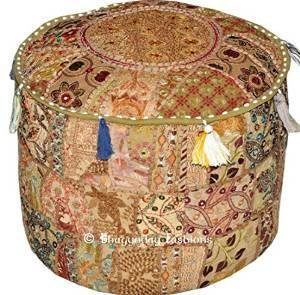 Best Buy! Indian Vintage Ottoman Pouf Cover ,Patchwork Ottoman, Living Room Patchwork Foot Stool Cov...
