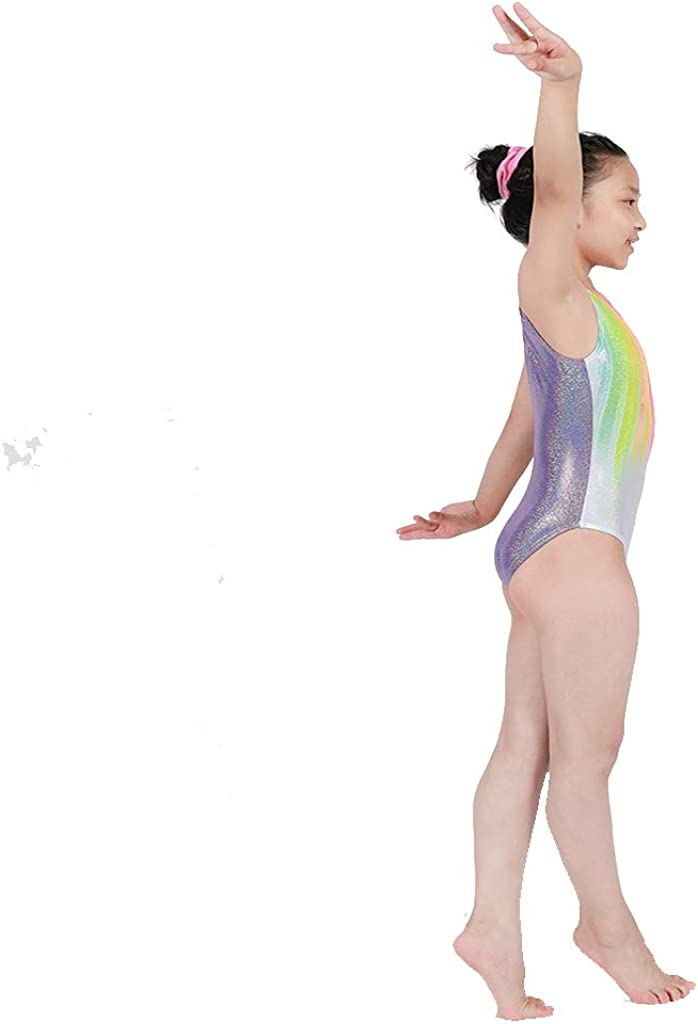 Kokkn Girls One-piece Colorful Ribbons Gymnastic Leotards Sleeveless Dance Leotards