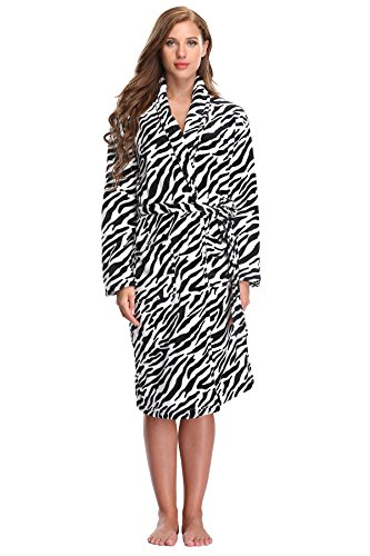Women's Fleece Bathrobe Plush Spa Robe Warm Soft Velvet Nightgown Cozy Sleepwear Comfy Nightwear, Zebra Stripe M