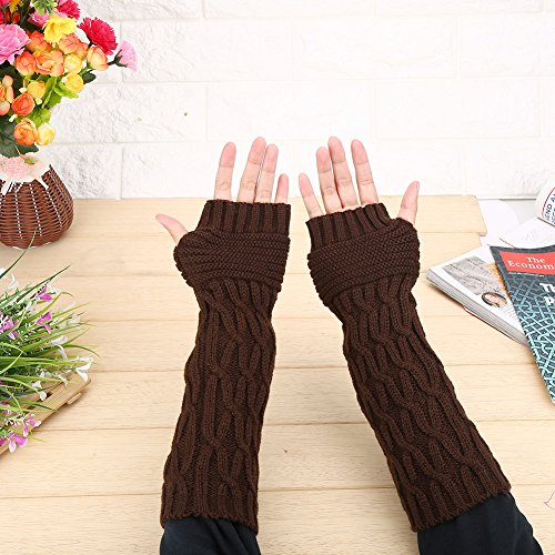 for Wrist Activities Outdoor Coffee Winter Hand Knitted Gloves Gloves Warmer Long pair Fingerless 1 4Colors Soft Women Arm H1qS1