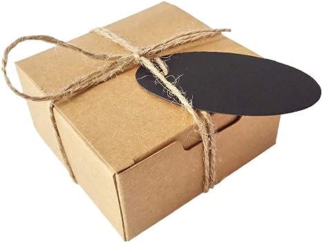 50 Piezas Cuadrado Regalos Envase Kraft Caja de Papel Y Etiqueta Cuerda de cáñamo Caja de jabón (Caja Marrón Con Etiquetas Negro): Amazon.es: Juguetes y juegos