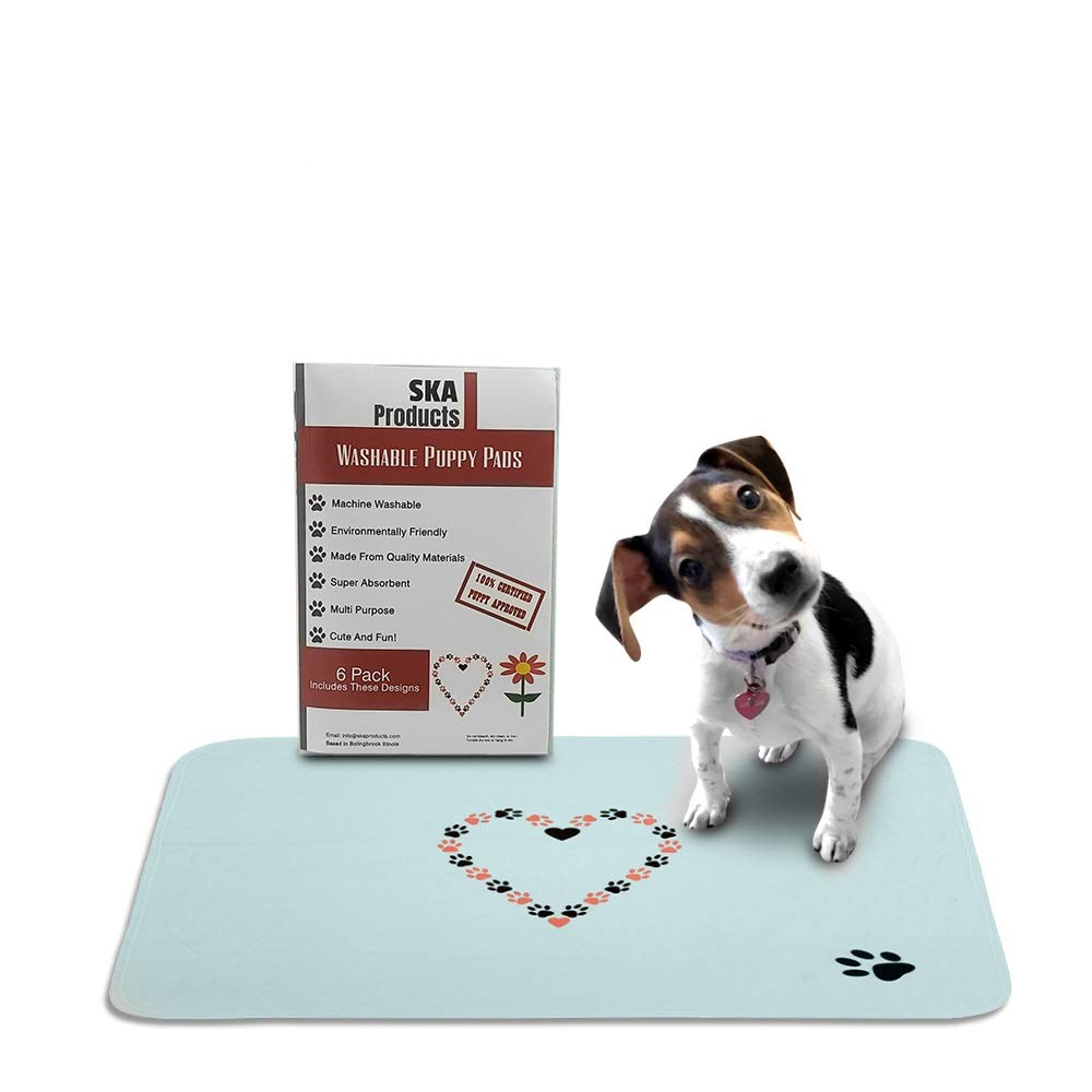 6 Pack Cute Washable Puppy Pee Pads   6 Pack Flower, Heart Designs   Large Super Absorbent Wee Wee Potty Mats   Dog Housebreaking, Pet Crate Training   Multi-Purpose Reusable Eco-Friendly   Whelping