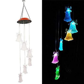 LED Solar-Windspiel Mobile Gartendeko Dekoration Garten Balkon Terrasse Glas NEU
