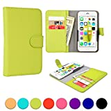 Acer Liquid C1/E1/E2/E3 (E380)/M220/Z200/Z220 phone case, COOPER SLIDER Mobile Cell Phone Wallet Protective Case Cover Casing with Open Camera & Credit Card Holder (Green)