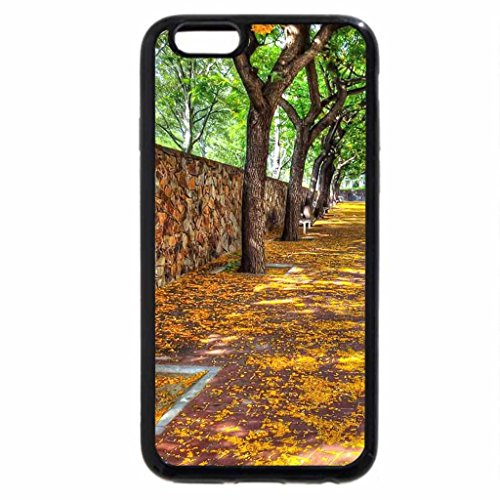 iPhone 6S / iPhone 6 Case (Black) leaves on sidewalk at autumn hdr