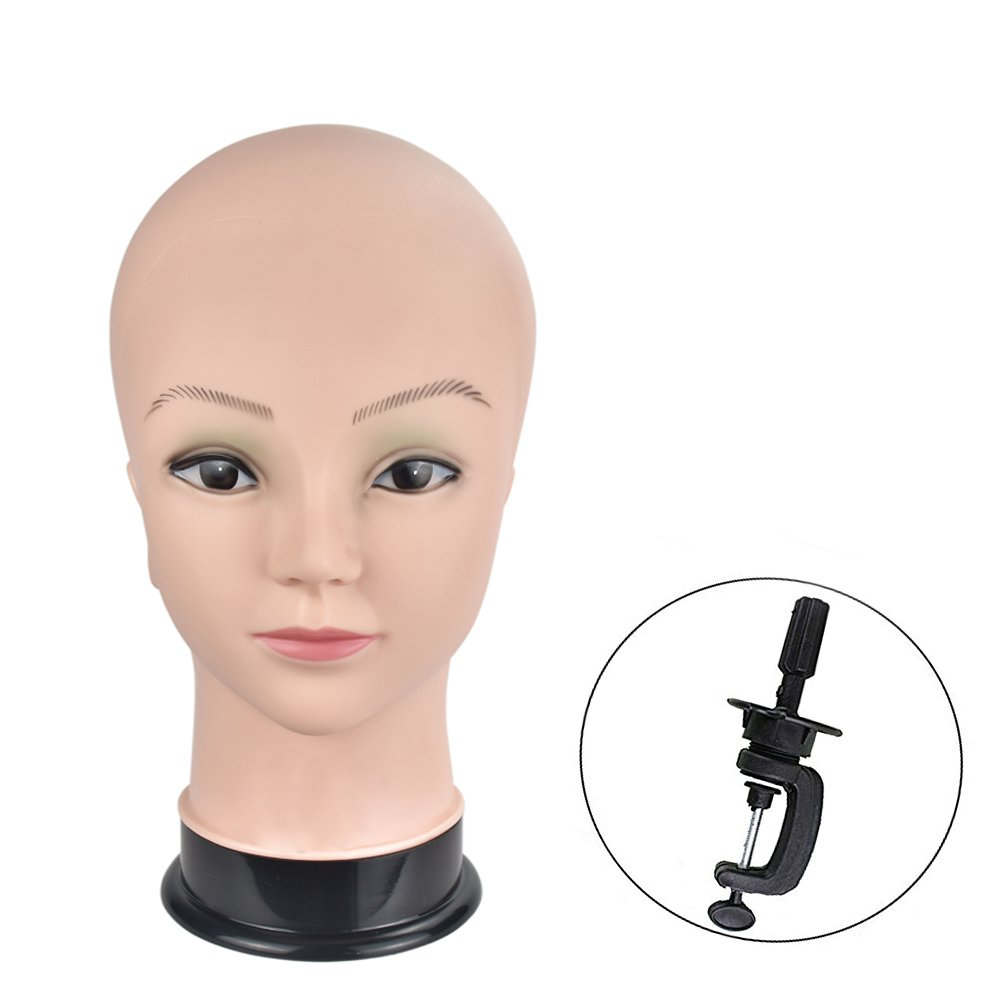 Bald Female Professional Manikin Head Cometology Mannequin Head for Wig Making and Dispay with Clamp MIAOMANZI