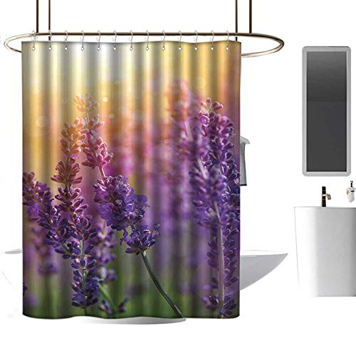Shower Curtains Nautical Theme Lavender,Detail of Scenic Gardening Plants Flourishing in Springtime Fresh Woods,Violet Apricot Green,W48 x L84,Shower Curtain for Bathroom