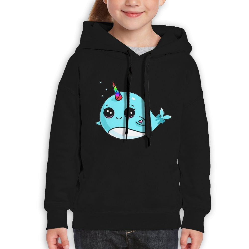 Rainbow Narwhal Bows Gift Girls Boys Teens Cotton Long Sleeve Cute Sweatshirt Hoodie Unisex