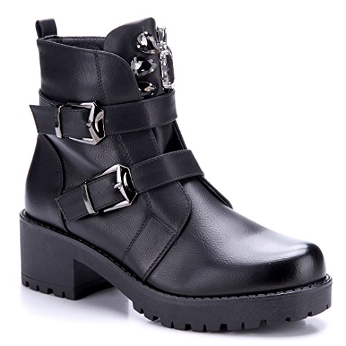 Schuhtempel24 Damen Schuhe Stiefel Stiefel Stiefel Stiefel Stiefeletten Blockabsatz Schnalle/Ziersteine 6 cm Schwarz 478055