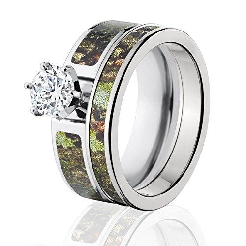 Mossy Oak Camo Bridal Set, Camo Wedding Rings, Obsession Camo Rings