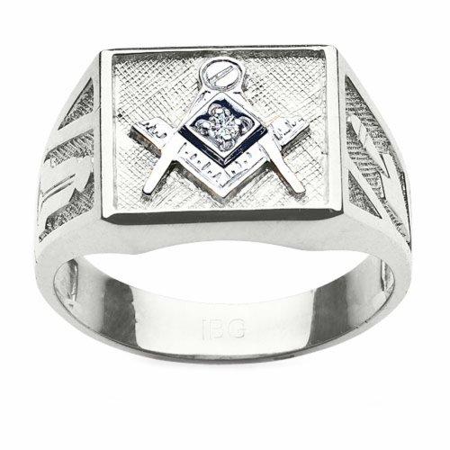 Sterling Silver Diamond Blue Lodge Masonic -