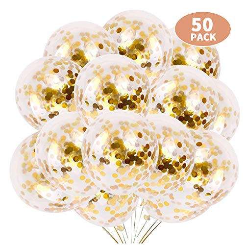 Green Convenience 50pcs Gold Confetti Balloons, 12 Inch Latex Party Balloons with Golden Paper Confetti Dots for Party, Birthday, Wedding, Proposal Decorations