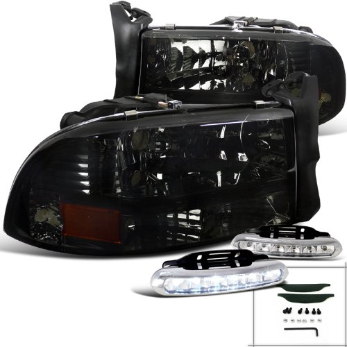 Dodge Durango Euro Smoke Headlightse+Front Bumper LED Fog Lamps (2000 Dodge Durango Front Bumper compare prices)