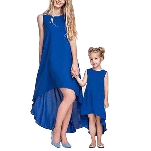 e964b566a6f57 Mother Daughter Summer Sleeveless Chiffon Long Maxi Tank Dress ...