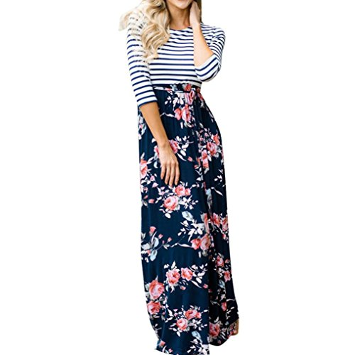 Gotd Womens Dresses Sexy Stripe Floral Long Sleeve Party Wedding Cocktail Work Plus Size (S, Navy)