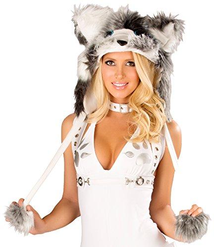 J Valentine Husky Costume - J. Valentine Women's The Husky Hood, White/Grey, One Size