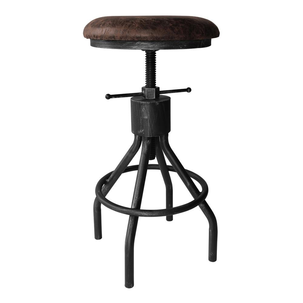 Today's Mentality Paris Industrial Adjustable Backless Barstool Silver Brushed Gray with Brown Fabric Seat