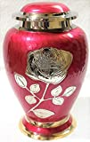 Silver Rose Cremation Urn - Funeral Urn with Large Flower on Red Enamel - Burial Urn for Human Ashes Adult Size - 100% Brass