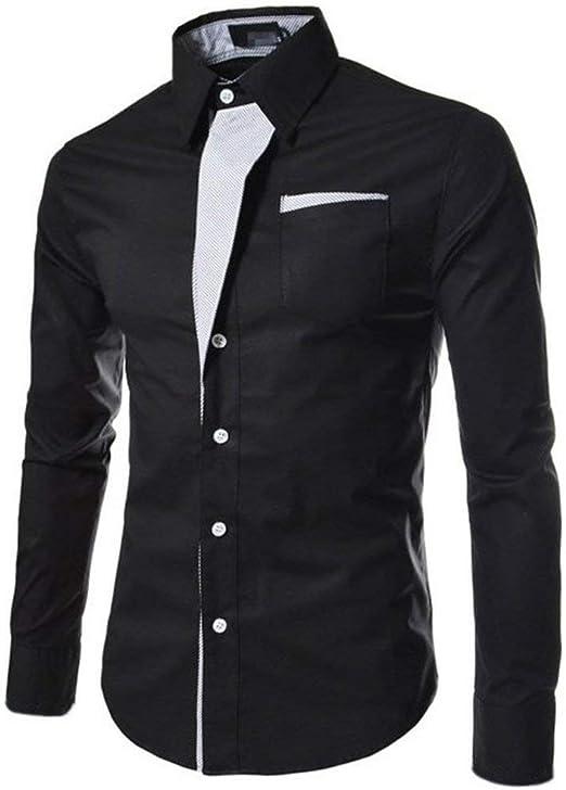 DGdolph Camisas Hombre Camisa a Rayas Algodón Slim Fit Camisa de Manga Larga Hombre Modelo Camisas Negro M: Amazon.es: Hogar
