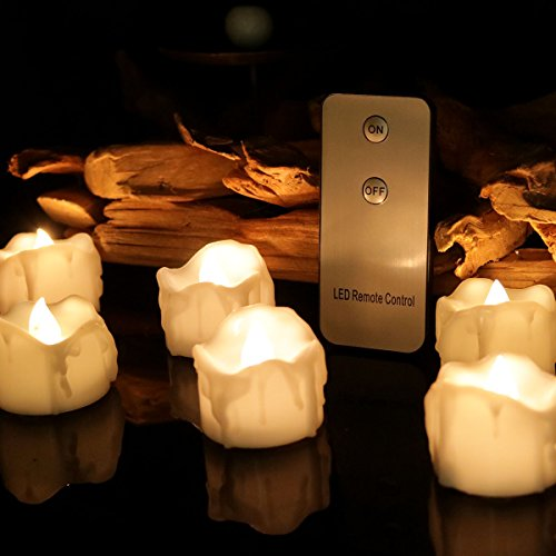 Remote LED Tea Lights Candles Battery Operated Romantic Candles Flameless Flickering Tealights for Outdoor Party Wedding Home Décor Warm White (Candle Wall Light)