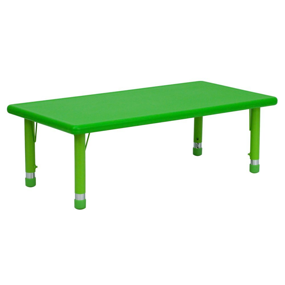 Flash Furniture 24''W x 48''L Rectangular Green Plastic Height Adjustable Activity Table