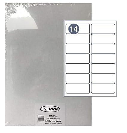Inerra Etiquetas Blanco - 14 por A4 Folio - Impresora ...
