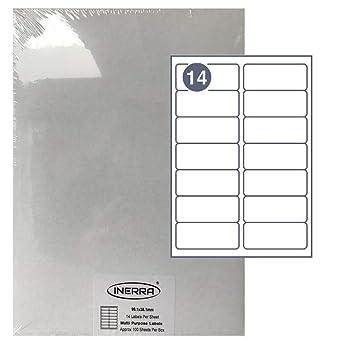 Inerra Etiquetas Blanco - 14 por A4 Folio - Impresora Dirección ...