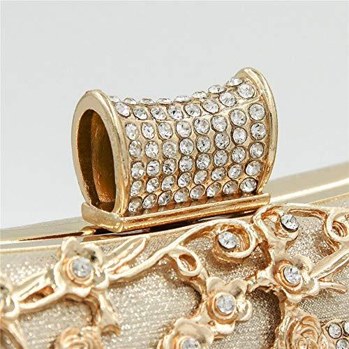de Noche Diamantes de imitacin Elegante Color de Bolso Cena Bolso Calado Fiesta Oro Oro Bolso XOXO Premium Cheongsam de de de Mujeres para Diamante qOawyT