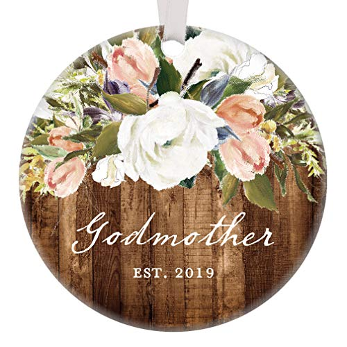 (Godmother Christmas Ornament 2019 New God Mother Christmas Gift Christian Baptism Christening Rustic Modern Farmhouse Floral Present Pretty 3