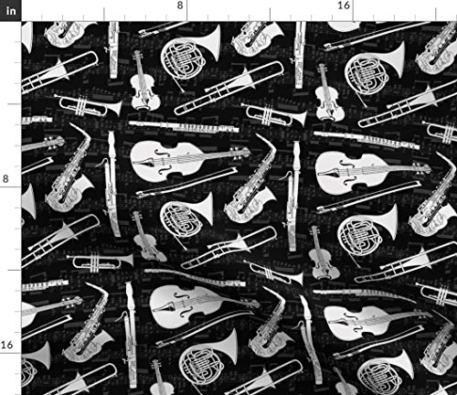 Spoonflower Orchestra Fabric - Music Musical Musical Instruments Instruments Symphony Marching Band Print on Fabric by The Yard - Petal Signature Cotton for Sewing Quilting Apparel Crafts - Broadcloth Symphony