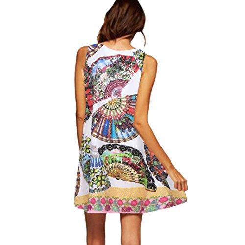 A Elegante Casual Lache t Femme Ligne Blanc Trapze Chic Mini 3XL Taille Tunique Robe Robes Courte Robes Femme Imprime Femme Manches S Ete sans POachers Dress 23 Cocktail qaPzn
