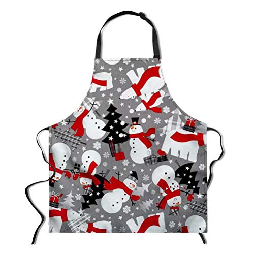 - Dellukee Funny Christmas Apron for Women Men Cartoon Snowman Printed Kitchen Adjustable Neck Unique Cool Waterproof Aprons for Home Restaurant BBQ Grill, 29.5