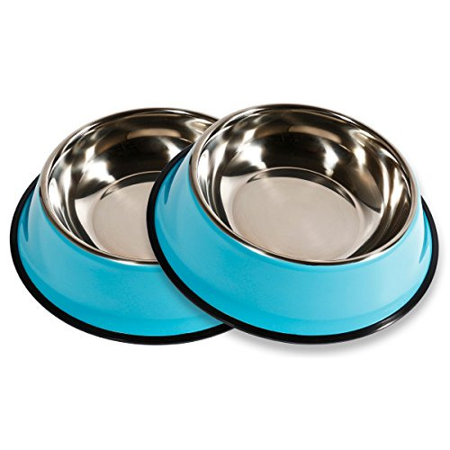 PETCEE Large Dog Bowls,40 OZ Large Stainless Steel Dog Bowls with Anti-Slip Rubber Base for Pet Food and Water (Set of 2,Blue)