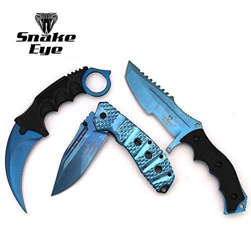 Snake Eye Tactical Triple Set - Karambit/Mini Huntsman/Folding Knife - Outdoors Hunting Camping Fishing Self Defense ... (Blue)