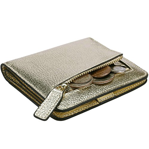 - Itslife Women's Rfid Blocking Small Compact Bifold Leather Pocket Wallet Ladies Mini Purse with id Window (Lichee Gold)