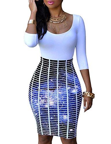 YiYaYo Womens Half Sleeve Slim Fit Hip Print Bodycon Club Dress Blue Galaxy XL
