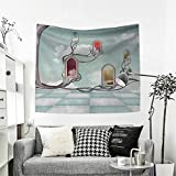 RuppertTextile Magical Tapestry Wall Tapestry Colored Mirrors Over Tree Branch Clouds Dream Room of Sky Surreal Unusual Graphic Work Art Wall Decor 39W x 39L Inch Multi