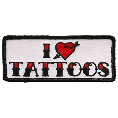 I Heart Tattoos Iron On Patches - Embroidered Artwork Sew On Patch, 4