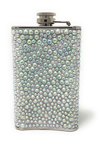 Stainless Steel Womens Rhinestones Crystal Liquor Hip Flask| Birthday Christmas Bachelorette Bridesmaid Friends Party Gifts| Girly Girl Pink Novelty Liquid Spirits Premium Travel Drinking Flasks 5 (Silver Tailgate Toss)