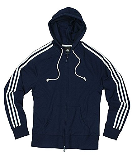 Adidas Womens Athletic Zipped Hoodie, Hooded Jacket (X-Large, Navy/White)