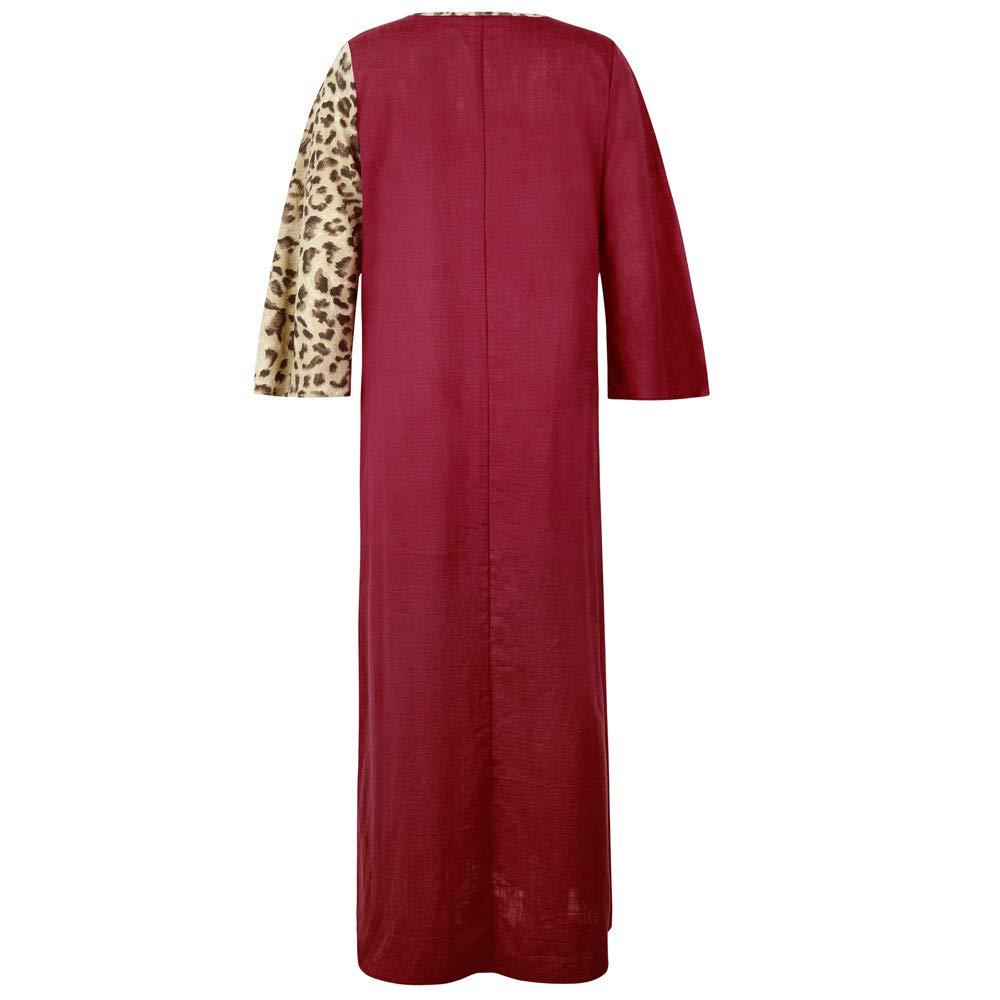 Luckycat Vestido Maxi Largo de Fiesta de Manga Larga con Estampado de Leopardo de Las Mujeres Musulmanas: Amazon.es: Ropa y accesorios