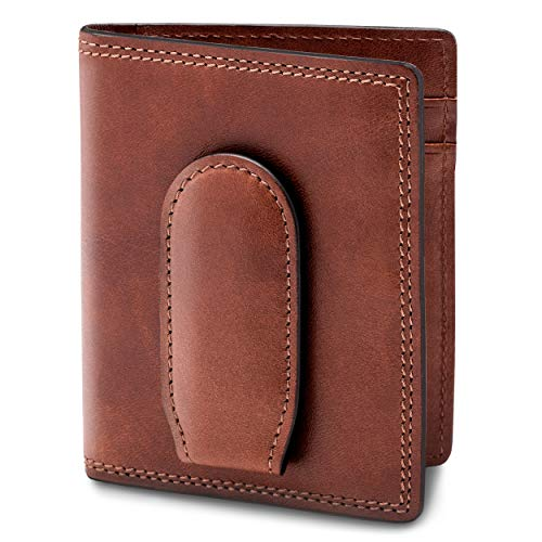 Bosca Men's Front Pocket Italian Leather Wallet with magnetic Clip In Dark Brown